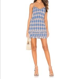 Keaton Mini Dress in Blue & Peach